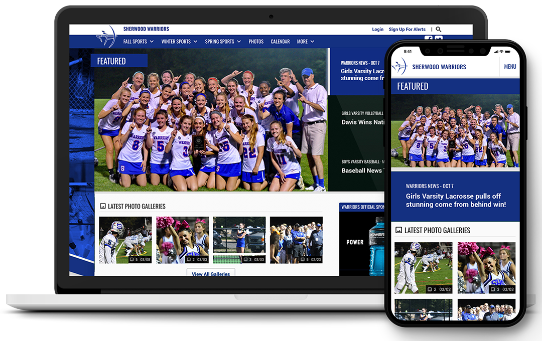A photo showing Sherwood High School's official athletics website home page on both a laptop and mobile phone
