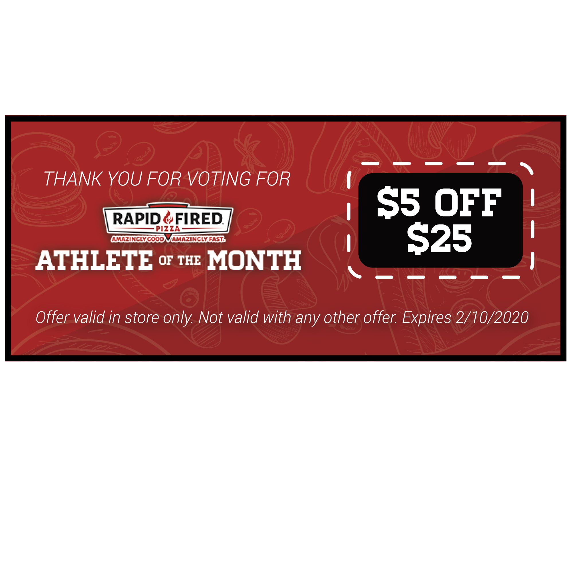 Rapid Fired Pizza Athlete of the Month – Thank You Page