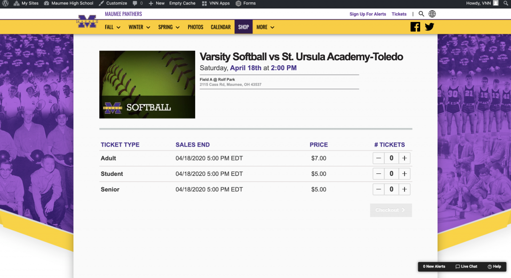 HomeTown Tickets Ticketing and VNN Integration - Sports Ticket Purchase Page